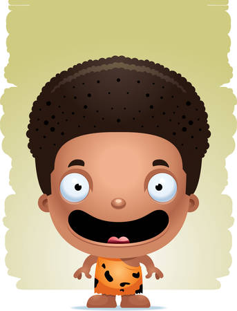 A cartoon illustration of a boy caveman standing and smiling.