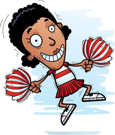 A cartoon illustration of a black woman cheerleader jumping. Illustration