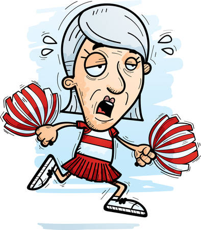 A cartoon illustration of a senior citizen woman cheerleader running and looking exhausted.