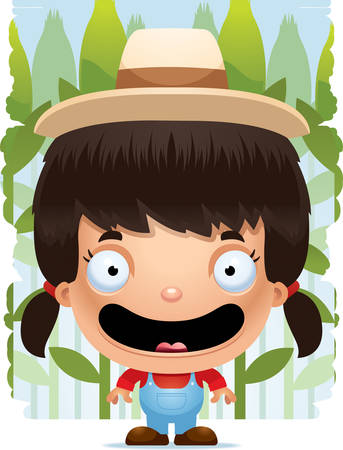 A cartoon illustration of a girl farmer smiling. Stock Illustratie