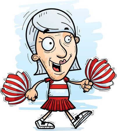 A cartoon illustration of a senior citizen woman cheerleader walking.