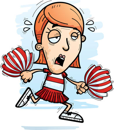A cartoon illustration of a woman cheerleader running and looking exhausted.