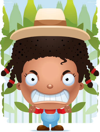 A cartoon illustration of a girl farmer with an angry expression.