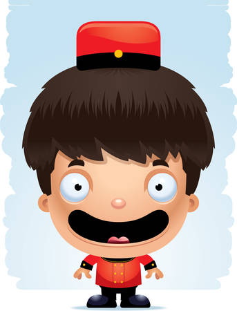 A cartoon illustration of a boy bellhop smiling.
