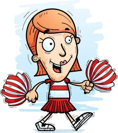 A cartoon illustration of a woman cheerleader walking. Illustration