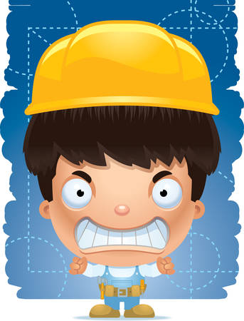 A cartoon illustration of a boy handyman with an angry expression.