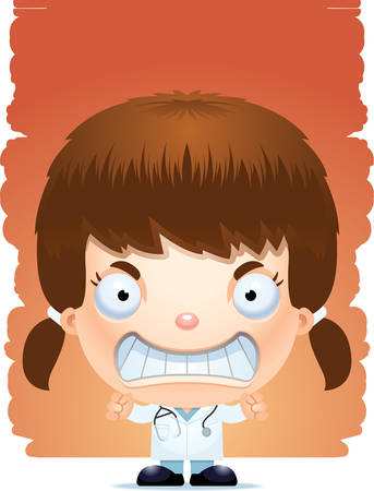 A cartoon illustration of a girl doctor looking angry.