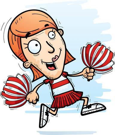 A cartoon illustration of a woman cheerleader running. Illustration