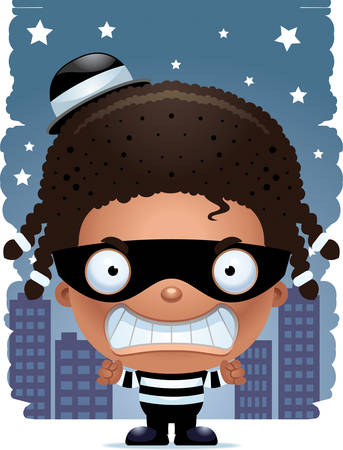 A cartoon illustration of a girl burglar looking angry. Stock Illustratie