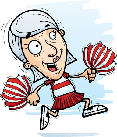 A cartoon illustration of a senior citizen woman cheerleader running.