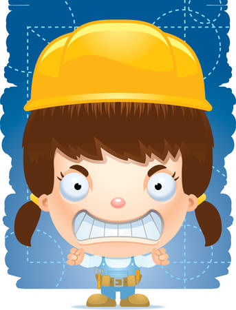A cartoon illustration of a girl handyman with an angry expression. 矢量图像