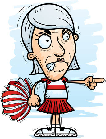 A cartoon illustration of a senior citizen woman cheerleader looking angry and pointing. Stock fotó - 101954781
