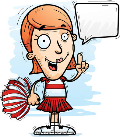 A cartoon illustration of a woman cheerleader talking.