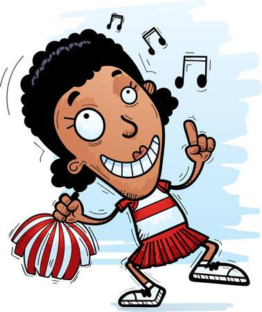 A cartoon illustration of a black woman cheerleader dancing.
