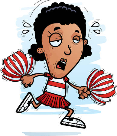 A cartoon illustration of a black woman cheerleader running and looking exhausted.