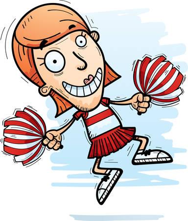 A cartoon illustration of a woman cheerleader jumping.