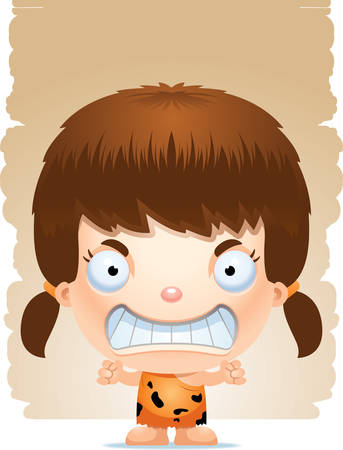 A cartoon illustration of a girl caveman looking angry. Illustration