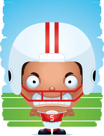 A cartoon illustration of a boy football player with an angry expression.