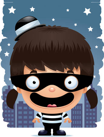A cartoon illustration of a girl burglar smiling. Stockfoto - 101954757