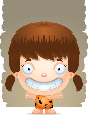 A cartoon illustration of a girl caveman standing and smiling. Illustration