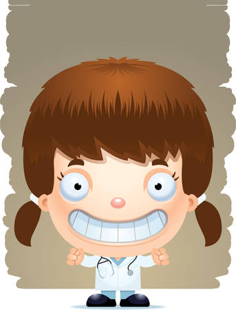 A cartoon illustration of a girl doctor smiling. Illustration