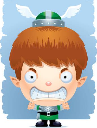 A cartoon illustration of a boy elf with an angry expression.