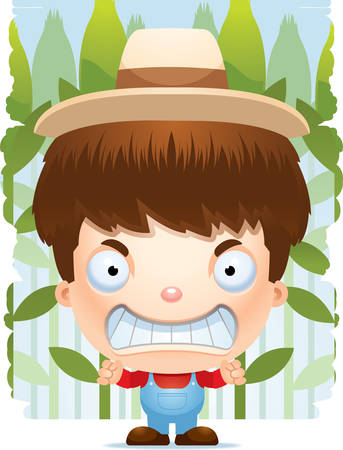 A cartoon illustration of a boy farmer with an angry expression.