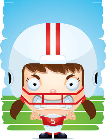 A cartoon illustration of a girl football player with an angry expression.