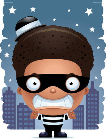 A cartoon illustration of a boy burglar looking angry. Illustration