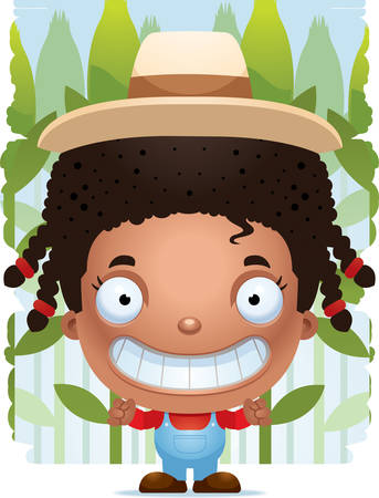 A cartoon illustration of a girl farmer smiling.  イラスト・ベクター素材