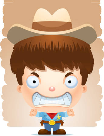 A cartoon illustration of a boy cowboy looking angry.