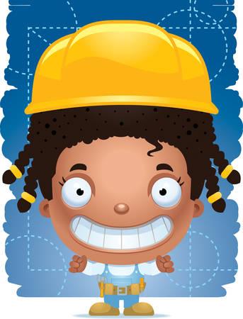A cartoon illustration of a girl handyman smiling. Illustration