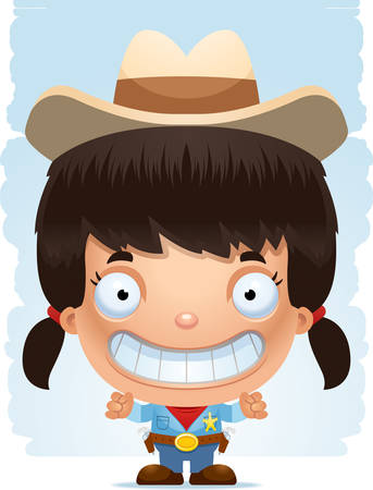 A happy cartoon girl cowboy standing and smiling.