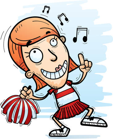 A cartoon illustration of a woman cheerleader dancing. Illustration