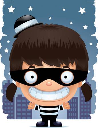 A cartoon illustration of a girl burglar smiling.