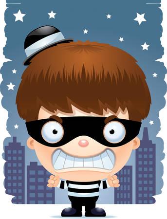 A cartoon illustration of a boy burglar looking angry. Stockfoto - 101954477