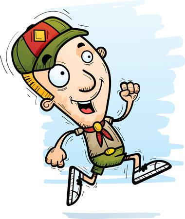 A cartoon illustration of a boy scout running.