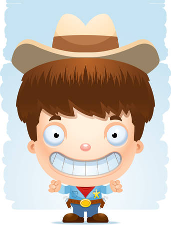 A happy cartoon boy cowboy standing and smiling.
