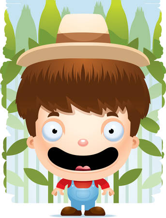 A cartoon illustration of a boy farmer smiling.