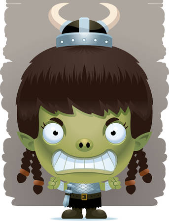 A cartoon illustration of a girl goblin with an angry expression.