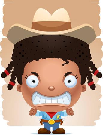 A cartoon illustration of a girl cowboy looking angry. Illusztráció