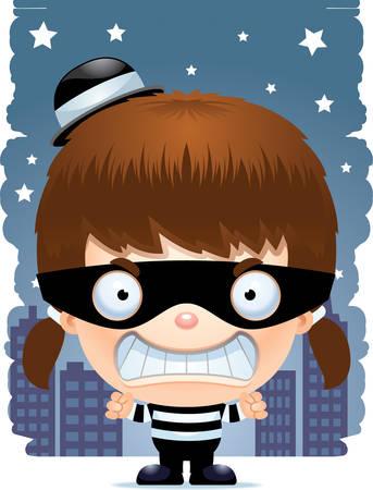 A cartoon illustration of a girl burglar looking angry. Stockfoto - 101954359