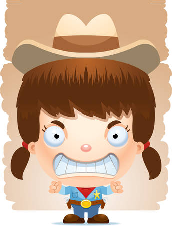 A cartoon illustration of a girl cowboy looking angry.