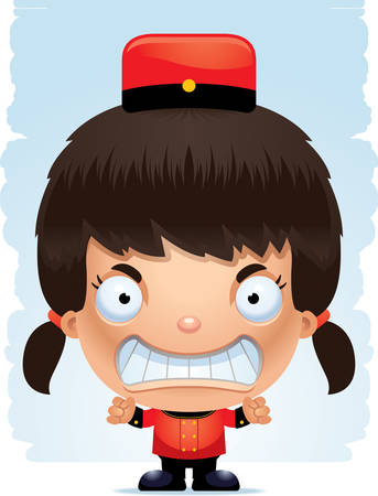 A cartoon illustration of a girl bellhop with an angry expression.