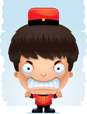 A cartoon illustration of a boy bellhop with an angry expression. Illustration