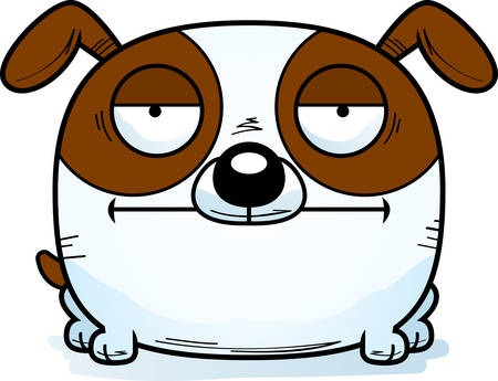 A cartoon illustration of a dog looking calm. Illustration
