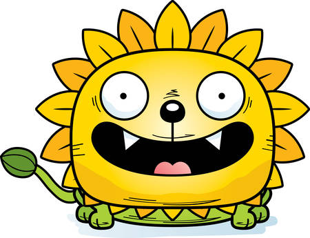 A cartoon illustration of a dandelion lion with a happy expression.