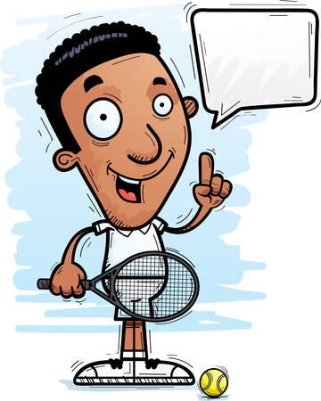 A cartoon illustration of a black man tennis player talking.