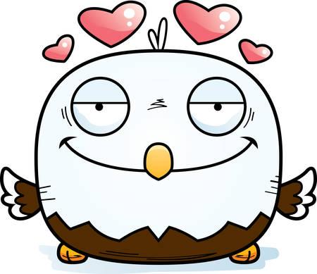 A cartoon illustration of a bald eagle in love.