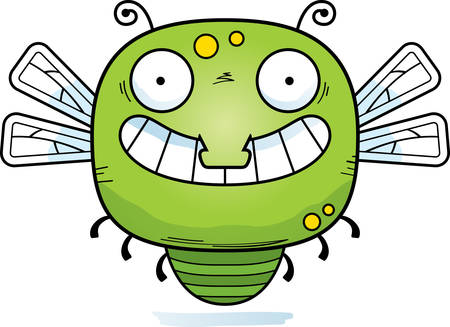 A cartoon illustration of a dragonfly looking happy.